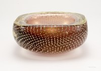 Vintage Venetian art glass bowl with encased bubbles and real gold veiling.