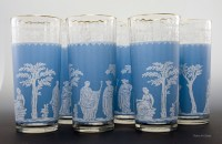 Neoclassic style Jeannette Glass tall tumblers designed to match a Wedgwood pattern called Jasperware.