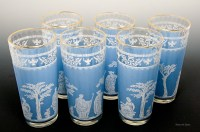 Made by Jeannette Glass in the 1950's. Designed to compliment Blue Jasperware (English porcelain) dinnerware by Wedgwood from the same era.