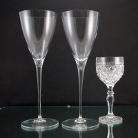 """Vintage Tiffany crystal goblets command attention at 10.5"""" tall. Shown in image one with a normal size wine glass for comparison. Produces a fine lingering ting when plinked. Perfect for the wedding toast."""