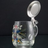 Vintage glass tankard with hand painted Tole decor and hand formed thick metal lid.