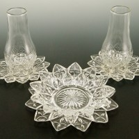 Rare Federal Flower Petal glass candle holder lanterns with matching bowl and plate.