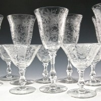 Cambridge Wildflower stemware set of 6 wine/water and 6 cocktail/sherbets from the 1940's.