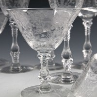 The Wildflower etch was introduced in the 1937 and was offered on a wide variety of table glass forms. However, the Wildflower etching was not used on stemware until the early 1940's