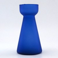 Monk style vintage Hyacinth vase, also called bulb vase, in beautiful satin blue.