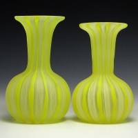 Beautiful set of satin yellow and white Zanfirico Filigree glass vases, hand-blown in early mid-century Italy.