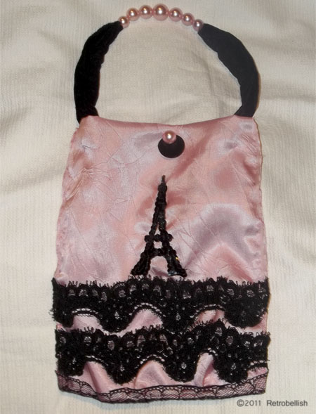 Reclaimed Fabric Paris Theme Purse