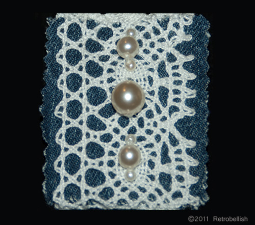 Finished Denim, Lace and Pearl Pin