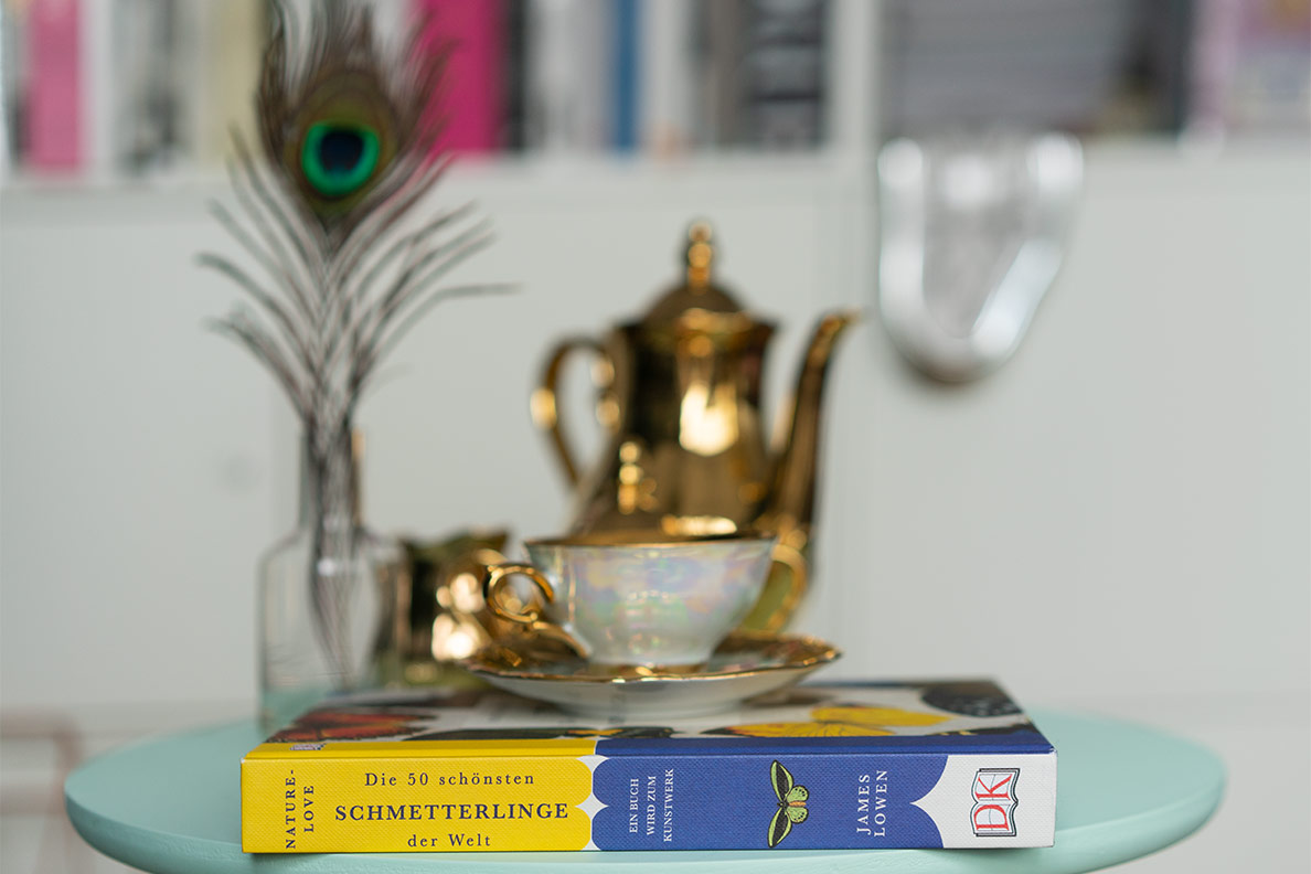 Eine alte Teetasse aus Porzellan und ein Schmetterlings-Buch