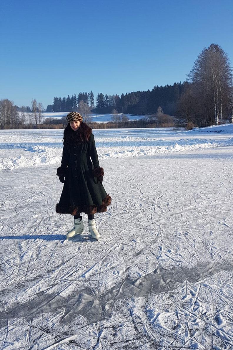 RetroCat beim Eislaufen im Winter