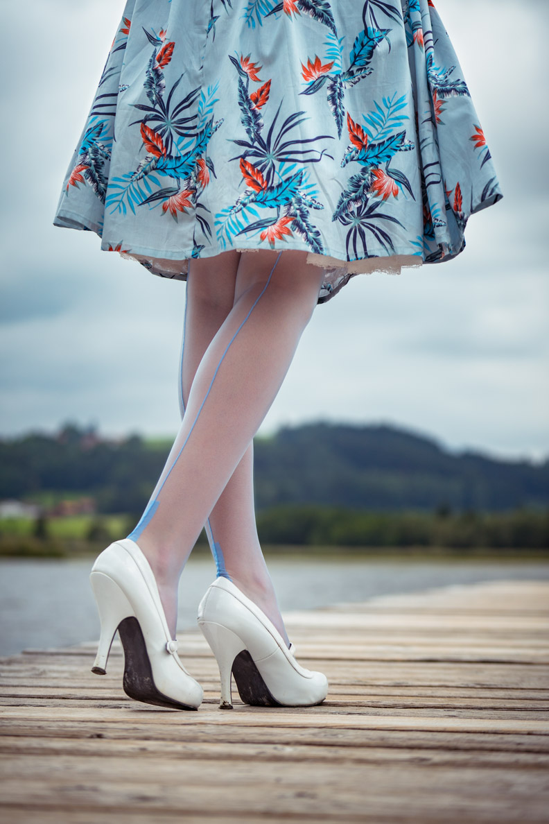 RetroCat with light blue nylons stockings and white shoes