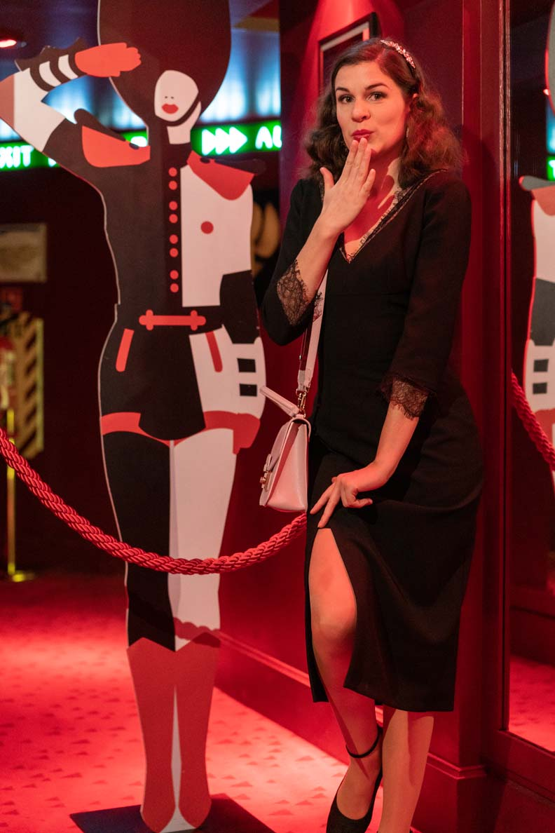 RetroCat wearing stockings by Agent Provocateur and a little black dress at the Crazy Horse Paris