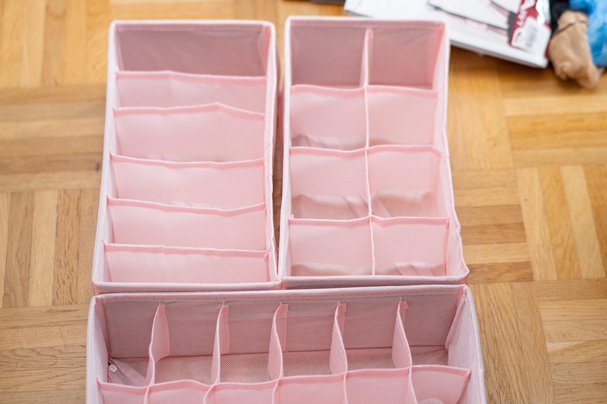 Aufbewahrungsboxen für BHs, Slips, Strümpfe und andere Unterwäsche