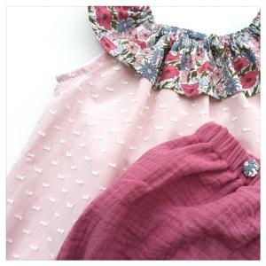 bloomer-shorty-gaze-coton-marine-boutons-liberty-poppy-and-daisy-rose-bébé-enfant
