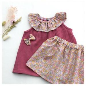 Top-en-gaze-de-coton-rose-pétale-et-wiltshire-bud-aurore-enfant-bébé-retrochic-boutique