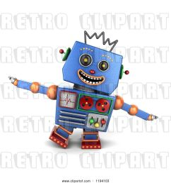 clip art of retro 3d happy blue robot pretending to be an airplane [ 1024 x 1044 Pixel ]