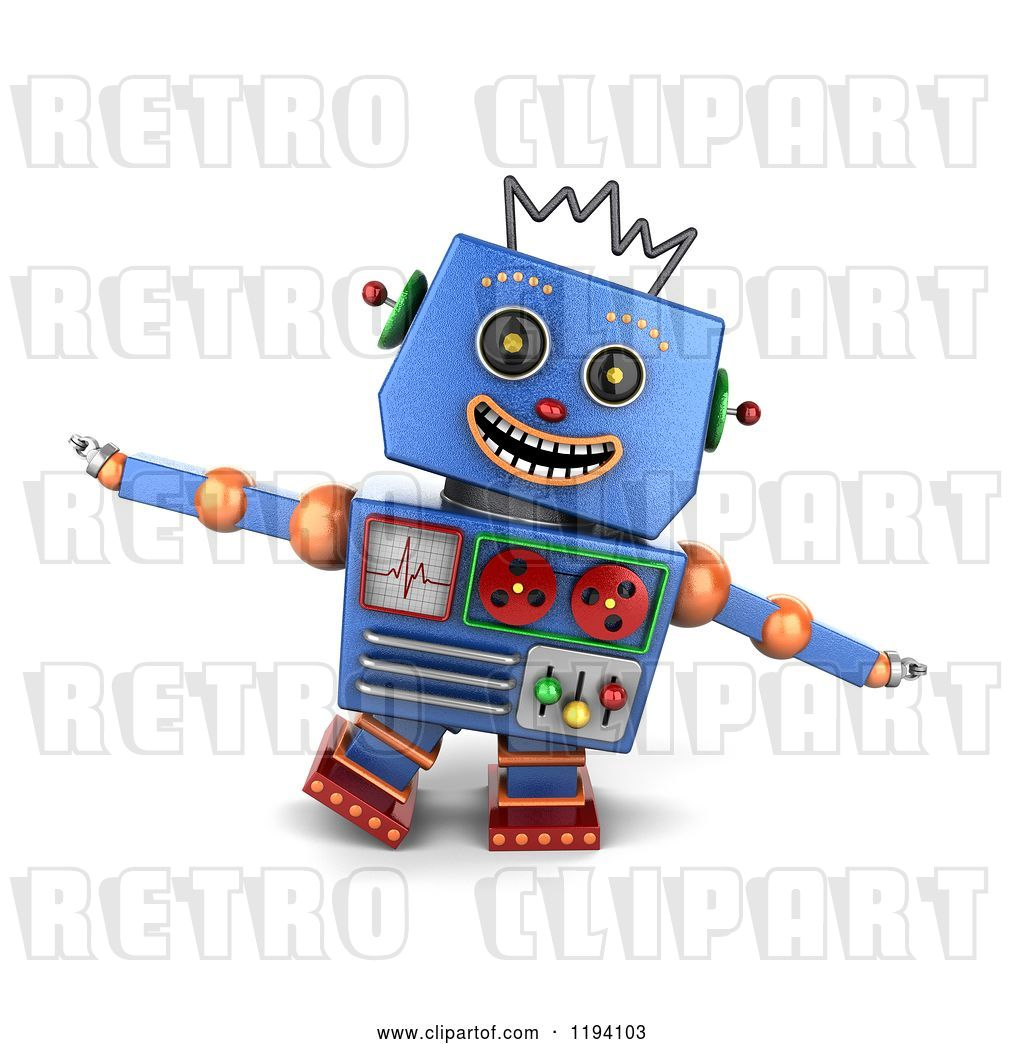 hight resolution of clip art of retro 3d happy blue robot pretending to be an airplane