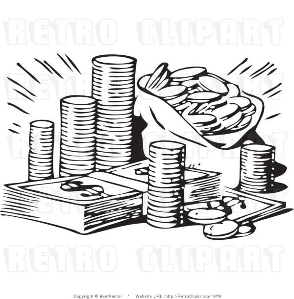 money bw clipart