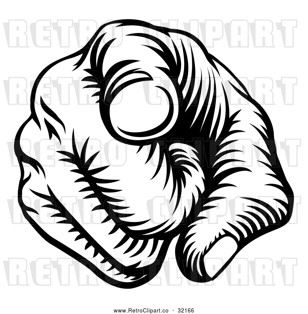 Vector Clip Art Of A Forceful Retro Hand Pointing Pointer