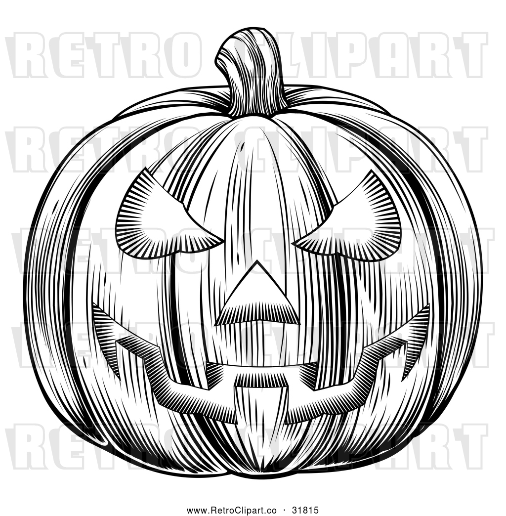 Vector Clip Art Of A Traditionally Carved Retro Halloween