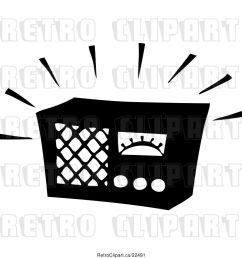 vector clip art of retro blaring radio [ 1024 x 1044 Pixel ]