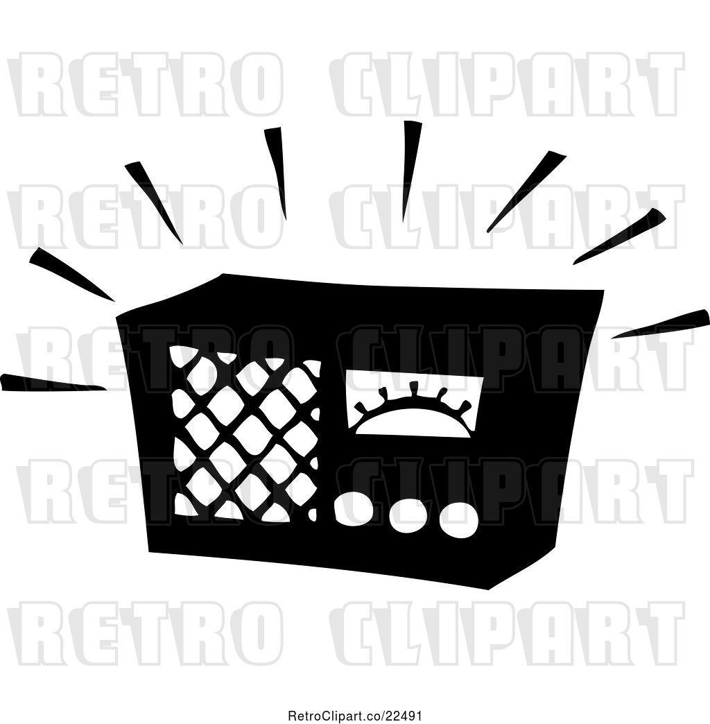 hight resolution of vector clip art of retro blaring radio
