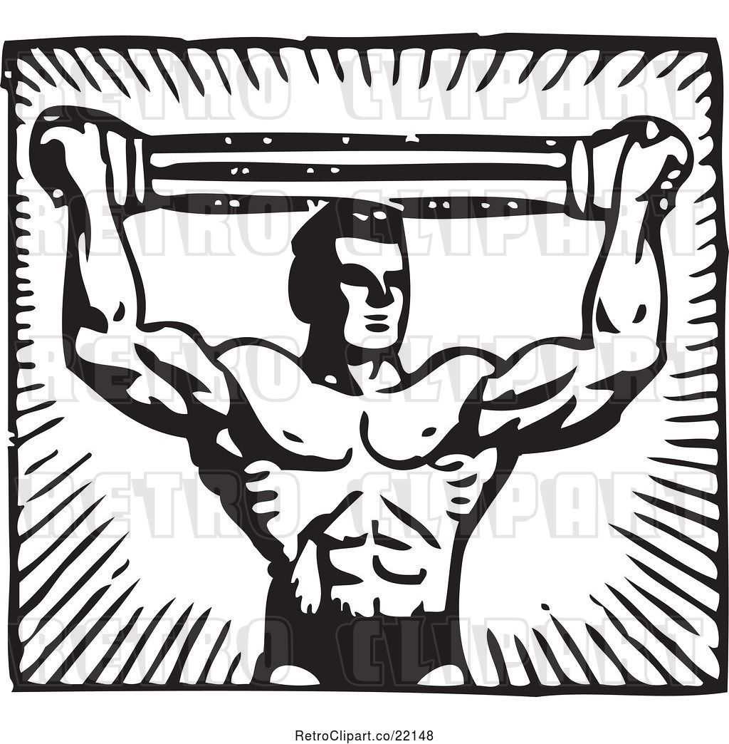 Vector Clip Art Of Retro Bodybuilder Pulling A Band Above
