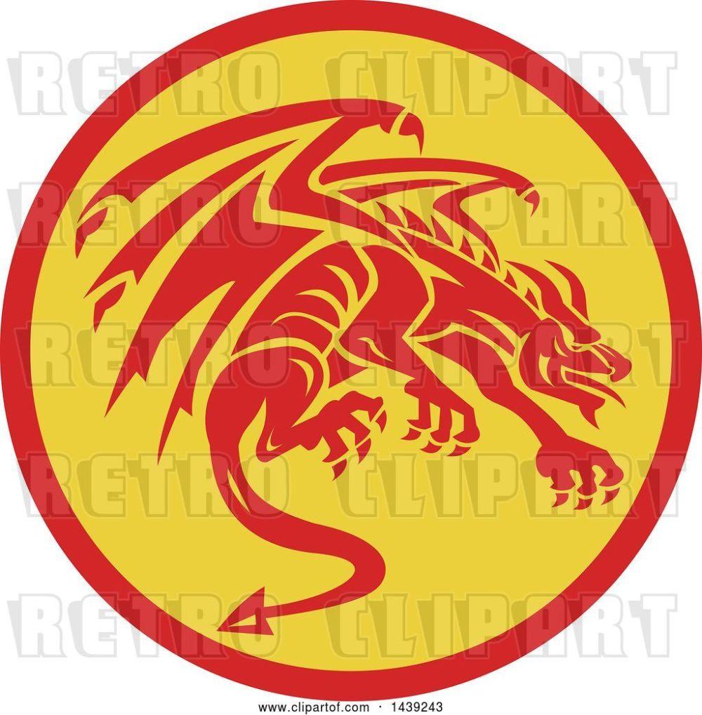 medium resolution of vector clip art of retro crouching red gargoyle dragon in a circle