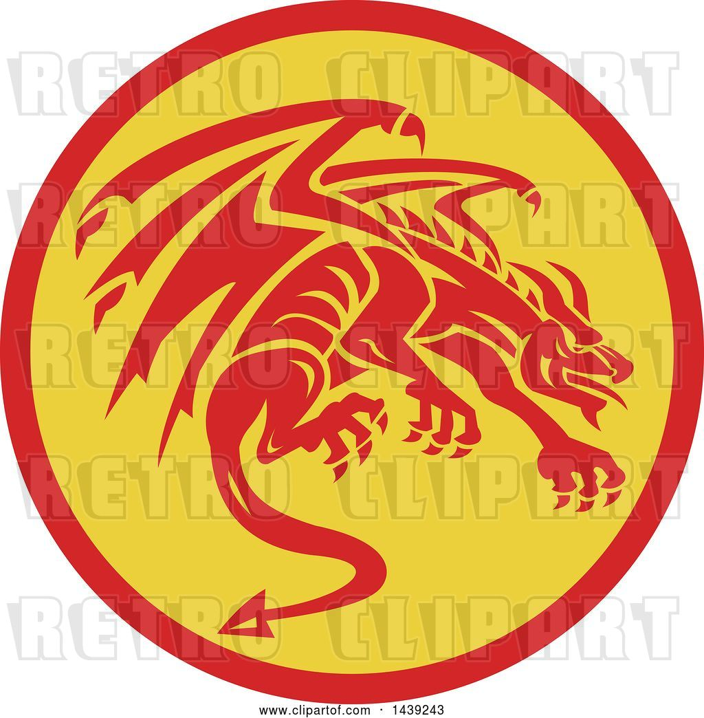 hight resolution of vector clip art of retro crouching red gargoyle dragon in a circle