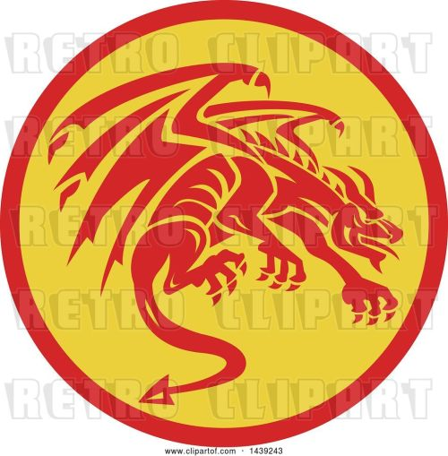 small resolution of vector clip art of retro crouching red gargoyle dragon in a circle