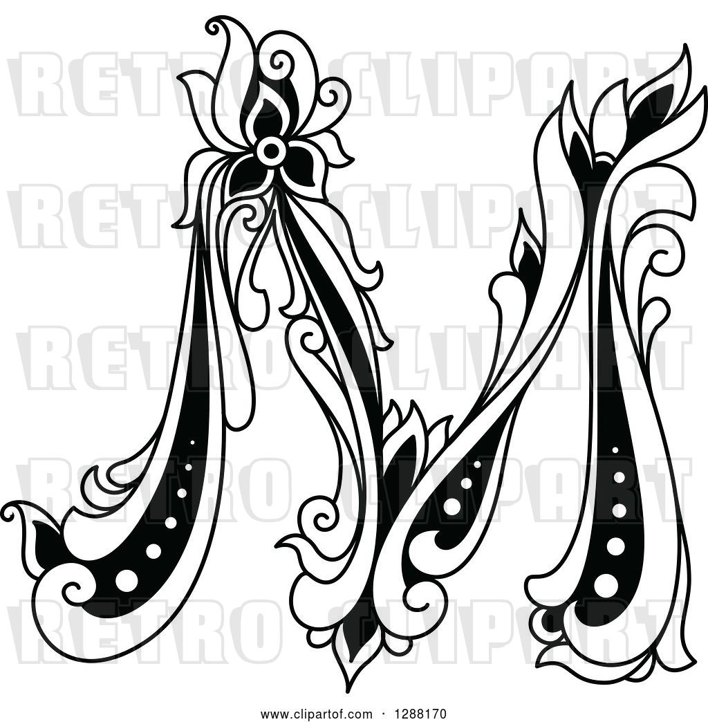 Vector Clip Art Of Retro Floral Capital Letter M By Vector