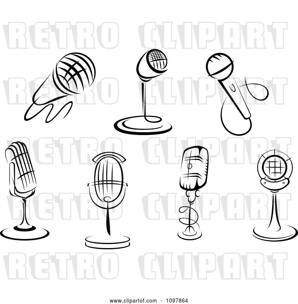 Vector Clip Art Of Retro Karaoke Or Singer And Radio Desk