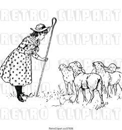 vector clip art of retro little bo peep talking to her sheep [ 1024 x 1044 Pixel ]