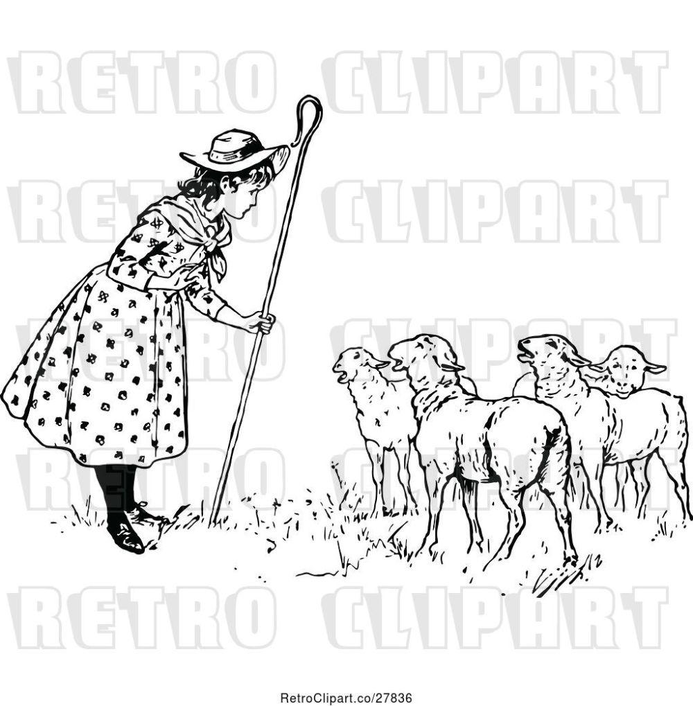 medium resolution of vector clip art of retro little bo peep talking to her sheep