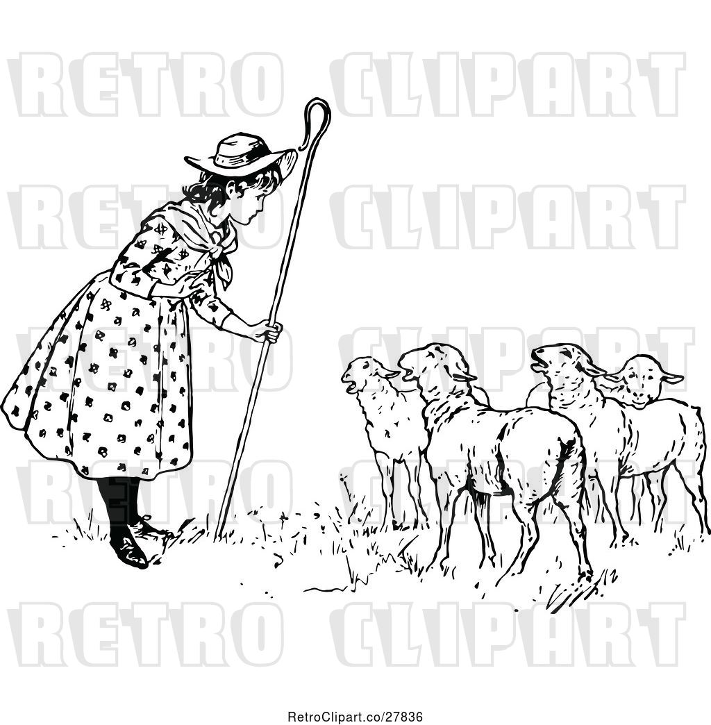 hight resolution of vector clip art of retro little bo peep talking to her sheep