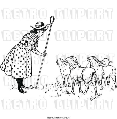 small resolution of vector clip art of retro little bo peep talking to her sheep