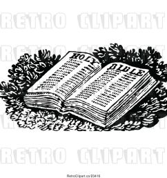 vector clip art of retro open holy bible [ 1024 x 1044 Pixel ]