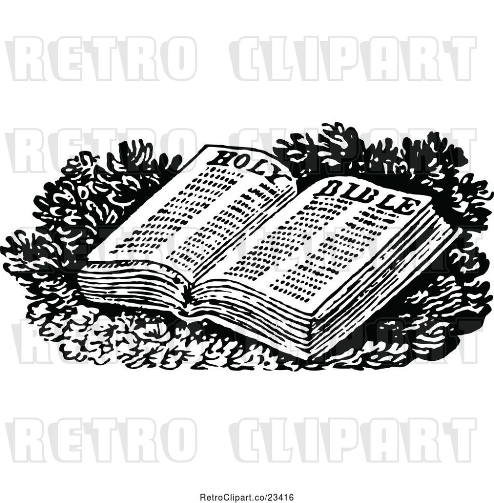 medium resolution of vector clip art of retro open holy bible