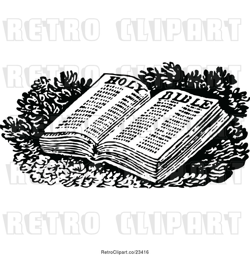 hight resolution of vector clip art of retro open holy bible