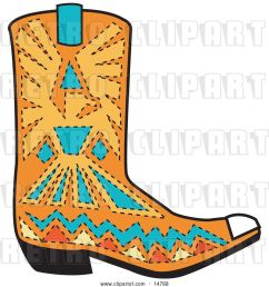 vector clip art of retro orange aztec style cowboy boot with blue and yellow accents around a bird [ 1024 x 1044 Pixel ]