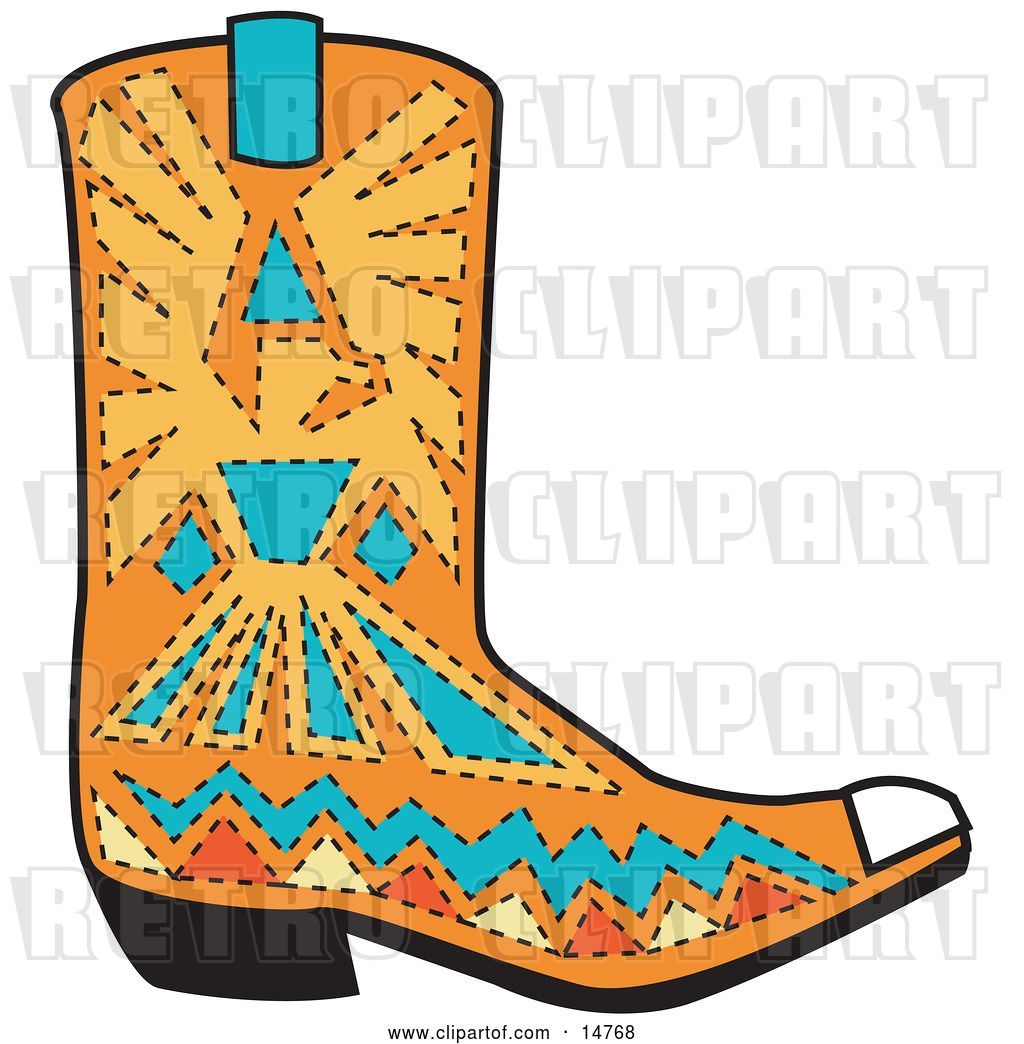 hight resolution of vector clip art of retro orange aztec style cowboy boot with blue and yellow accents around a bird