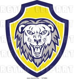 vector clip art of retro roaring lion head in a blue white and yellow shield [ 1024 x 1044 Pixel ]