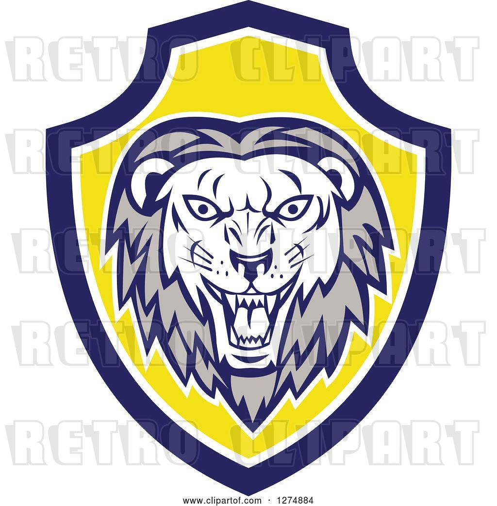 hight resolution of vector clip art of retro roaring lion head in a blue white and yellow shield