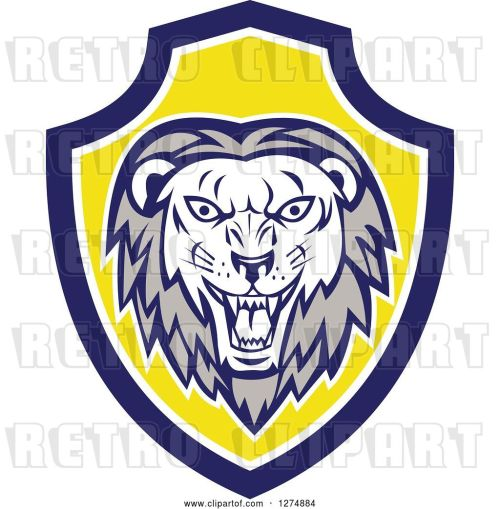small resolution of vector clip art of retro roaring lion head in a blue white and yellow shield