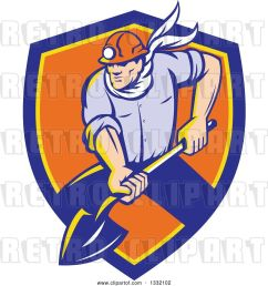 vector clip art of retro white male coal miner digging with a spade shovel with light shining from his helmet in a blue yellow and orange shield [ 1024 x 1044 Pixel ]