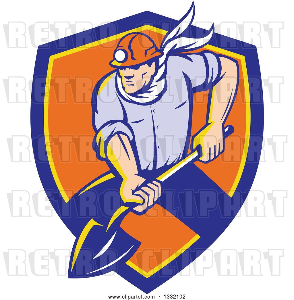 hight resolution of vector clip art of retro white male coal miner digging with a spade shovel with light shining from his helmet in a blue yellow and orange shield