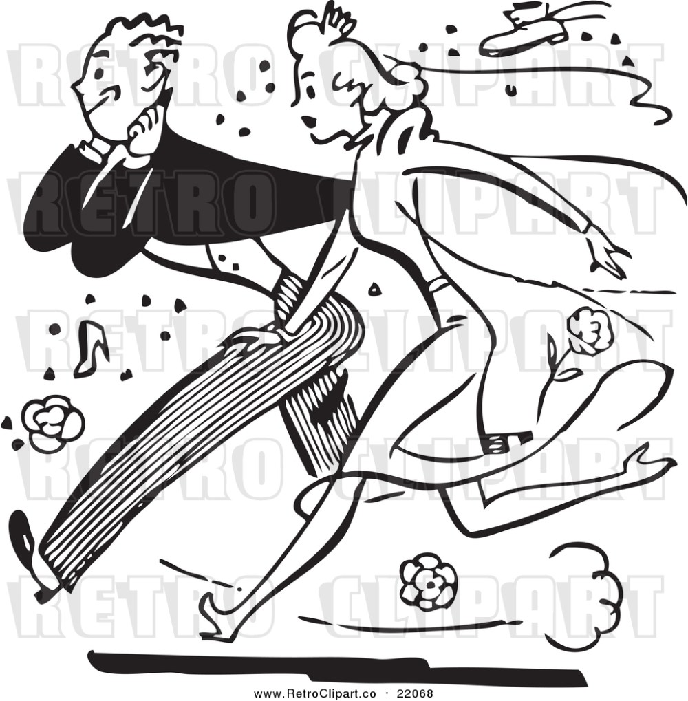 medium resolution of vector clipart of a retro black and white bride and groom running