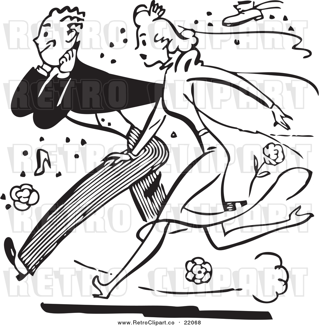 hight resolution of vector clipart of a retro black and white bride and groom running