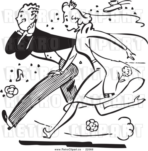 small resolution of vector clipart of a retro black and white bride and groom running