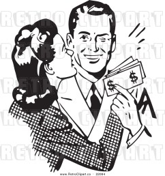 vector clipart of a retro wife kissing her husband on the cheek as he hands her money [ 1024 x 1044 Pixel ]